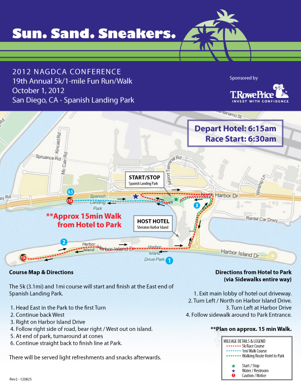 NAGDCA 5k/1mi Fun Run/Walk Map