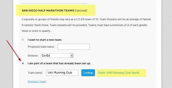 "Select ""VAVi Running Club' when choosing your team."